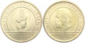 Weimarer Republik - J 341 - 1929 A - Schwurhand - 5 Reichsmark - f.st