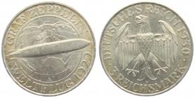 Weimarer Republik - J 342 - 1930 A - Graf Zeppelin - 3 Reichsmark - vz-st