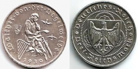 Weimarer Republik - J 344 - 1930 D - Walther von der Vogelweide - 3 Reichsmark - vz-st