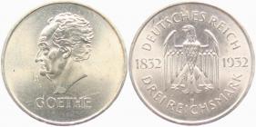 Weimarer Republik - J 350 - 1932 F - Goethe - 3 Reichsmark - f.st