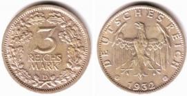 Weimarer Republik - J 349 - 1932 D - Eichenlaub - 3 Reichsmark - vz min. RF