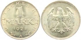 Weimarer Republik - J 311 - 1924 A - 1 Mark - f.st