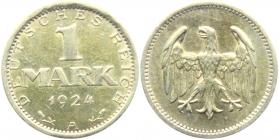 Weimarer Republik - J 311 - 1924 A - 1 Mark - vz