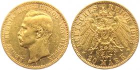 Hessen - J 225 - 1903 A - Ernst Ludwig (1892 - 1918) - 20 Mark ss+