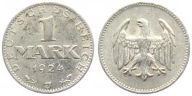 Weimarer Republik - J 311 - 1924 J - 1 Mark - ss-vz