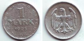 Weimarer Republik - J 311 - 1925 D - 1 Mark - ss-vz