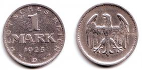 Weimarer Republik - J 311 - 1925 D - 1 Mark - ss