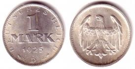 Weimarer Republik - J 311 - 1925 D - 1 Mark - vz-st