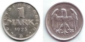 Weimarer Republik - J 311 - 1925 D - 1 Mark - vz