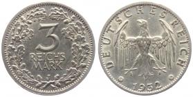 Weimarer Republik - J 349 - 1932 J - 3 Reichsmark mit Eichenlaub - f.st