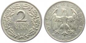 Weimarer Republik - J 320 - 1927 E - 2 Reichsmark - f.vz