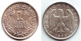 Weimarer Republik - J 319 - 1925 D - 1 Reichsmark - f.st