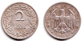 Weimarer Republik - J 320 - 1925 G - 2 Reichsmark - ss-vz