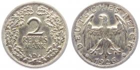 Weimarer Republik - J 320 - 1926 D - 2 Reichsmark - vz