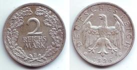 Weimarer Republik - J 320 - 1926 E - 2 Reichsmark - vz