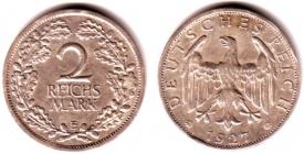 Weimarer Republik - J 320 - 1927 E - 2 Reichsmark - ss+
