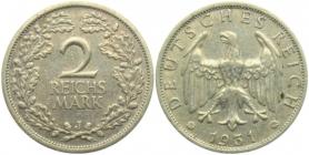 Weimarer Republik - J 320 - 1931 J - 2 Reichsmark - ss+