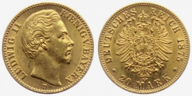 Bayern - J 197 - 1875 D - Ludwig II. (1864 - 1886) -  20 Mark - ss-vz - in NGC-Slab