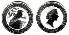 Australien - 1993 - Kookaburra - 2 Unzen - 2 Dollars - st / BU in Kapsel