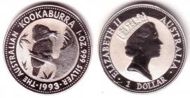 Australien - 1993 - Kookaburra - 1 Unze - 1 Dollar - st / BU in Originalkapsel