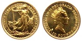 Großbritannien - 1987 - stehende Britannia - 1/10 Unze - 10 Pounds - st