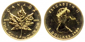 Kanada - 1989 - Maple Leaf - 5 Dollars - 1/10 Unze - st