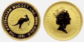 Australien - 1991 - Känguru - 1/10 Unze - 5 Dollars - st