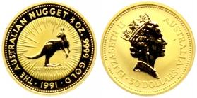 Australien - 1991 - Känguru - 1/2 Unze - 50 Dollars - st