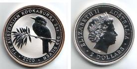 Australien - 2000 - Kookaburra - 2 Unzen - 2 Dollars - st / BU in Kapsel