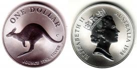 Australien - 1998 - Känguru - 1 Unze - 1 Dollar - st /BU in Kapsel