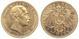 Mecklenburg-Schwerin - J 232 - 1878 A - Friedrich Franz III.. (1883 - 1897) - 10 Mark ss