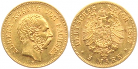 Sachsen - J 260 - 1877 E - Albert (1873 - 1902) -  5 Mark vz+