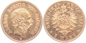 Sachsen - J 260 - 1877 E - Albert (1873 - 1902) - 5 Mark - f.vz
