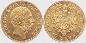 Sachsen - J 261 - 1874 E - Albert (1873 - 1902) - 10 Mark vz-st