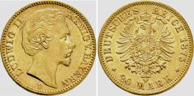 Bayern - J 197 - 1875 D - Ludwig II. (1864 - 1886) - 20 Mark - MS 61 (vz-st) - in NGC-Slab