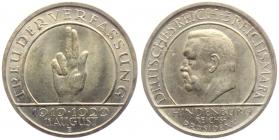Weimarer Republik - J 341 - 1929 A - Schwurhand - 5 Reichsmark - vz