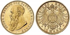 Sachsen-Meiningen - J 280 - 1909 D - Georg II. (1866 - 1914) - 10 Mark - f.vz-vz