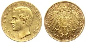 Bayern - J 199 - 1893 D - König Otto (1886 - 1913) - 10 Mark - ss+
