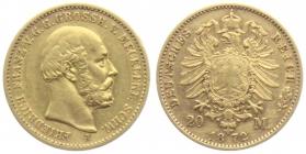 Mecklenburg-Schwerin - 1872 A - Friedrich Franz II. (1842 - 1883) - 20 Mark - ss+