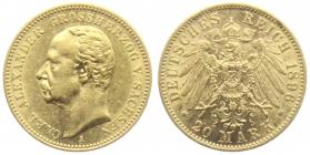 Sachsen-Weimar-Eisenach - J 282 - 1896 A - Carl Alexander (1853 - 1901) - Zur Goldenen Hochzeit - 20 Mark f.vz