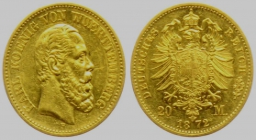 Württemberg - J 290 - 1872 F - Karl (1864 - 1891) - 20 Mark vz