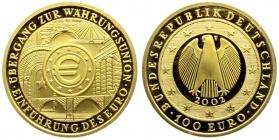 Deutschland - 2002 F - Währungsunion - 100 Euro - 1/2 Unze - st
