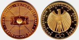 Deutschland - 2005 G - Fußball WM 2006 in Deutschland- 100 Euro - 1/2 Unze - st in Box