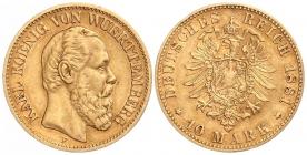 Württemberg - J 292 - 1881 F - Karl (1864 - 1891) - 10 Mark - ss