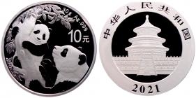 China - 2021 - Panda mit Jungtier - 10 Yuan - st