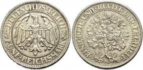 Weimarer Republik - J 331 - 1929 F - Eichbaum - 5 Reichsmark - vz