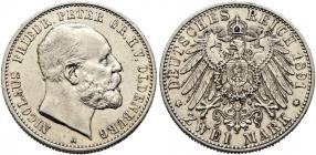 Oldenburg - J 93 - 1891 A - Nicolaus Friedrich Peter (1853 - 1900) - 2 Mark - vz
