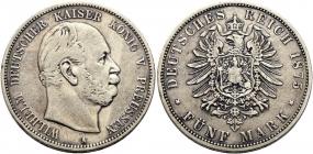 Preussen - J 97 - 1875 A - Wilhelm I. (1861 - 1888) - 5 Mark - ss+