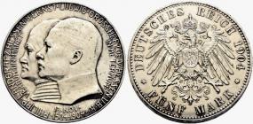 Hessen - J 75 - 1904 - Ernst Ludwig (1892 - 1918) mit Landgraf Philipp - 5 Mark - vz berieben