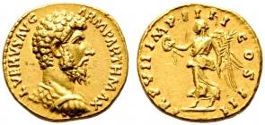 Römische Kaiserzeit - Aureus 166 - Lucius Verus (161 - 169) AU (vz)